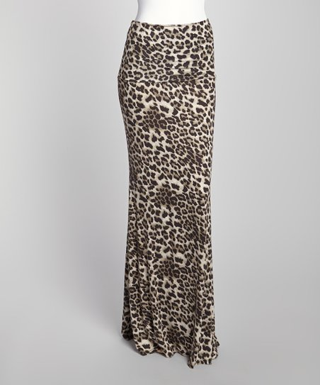 Black & Tan Leopard Fold-Over Maxi Skirt