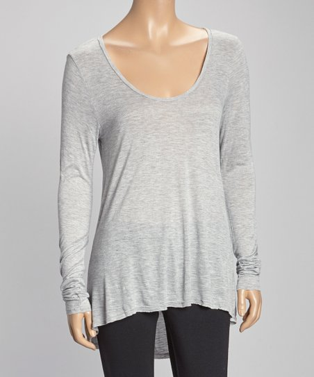 Heather Gray Hi-Low Scoop Neck Top