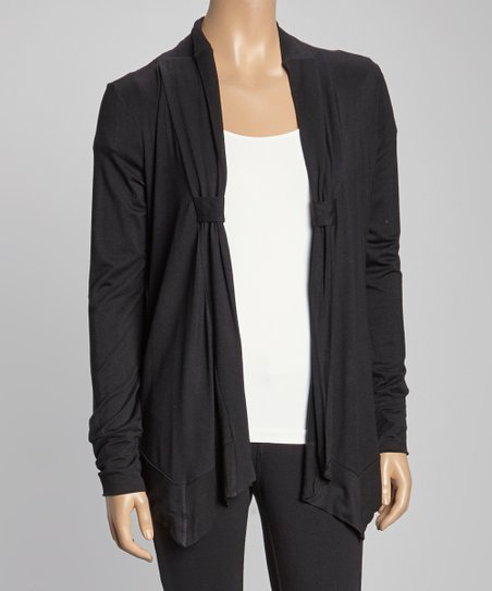 Black Banded-Placket Open Cardigan