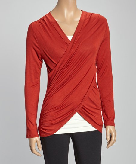Rust Ruched Surplice Top