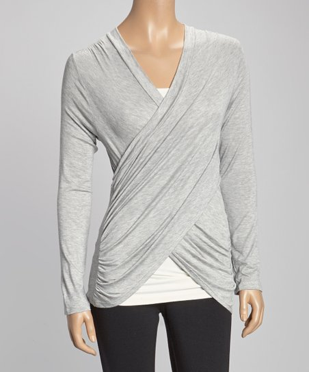 Heather Gray Ruched Surplice Top