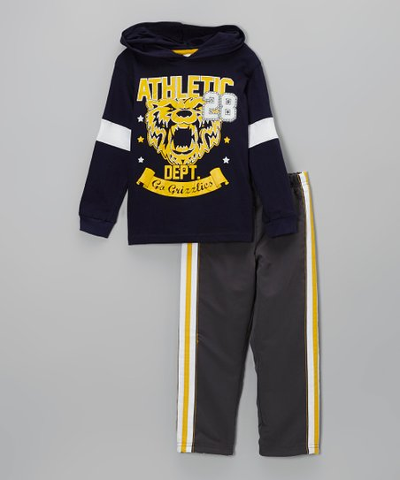 Blue Skater Hooded Tee & Gray Track Pants - Infant, Toddler & Boys