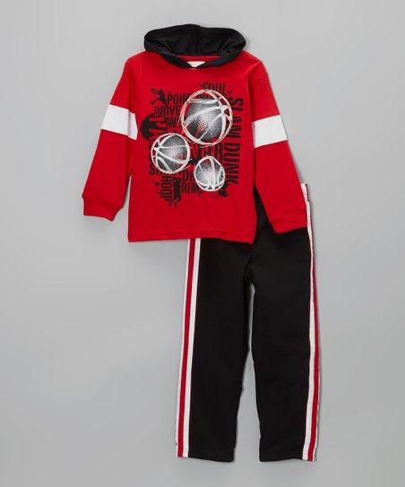 Red Basketball Hooded Tee & Black Track Pants - Infant & Toddler