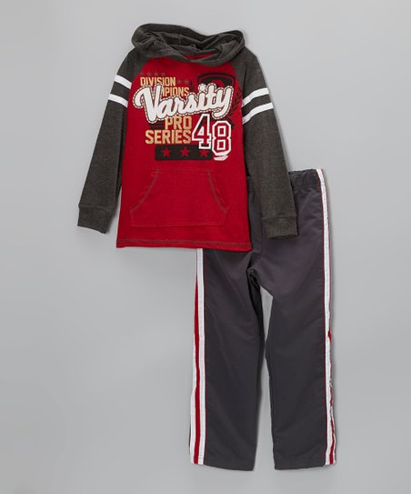 Red 'Varsity' Raglan Hooded Tee & Sweatpants - Toddler & Boys