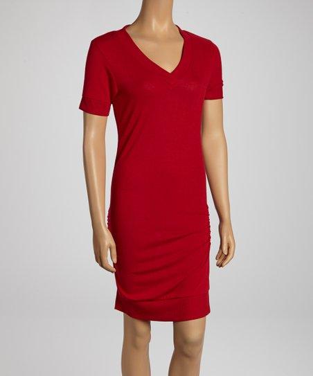 Burgundy Ruched V-Neck Dress