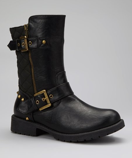 Black Quilted Gloria Boot