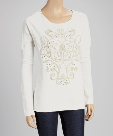 Whisper White Embellished Top