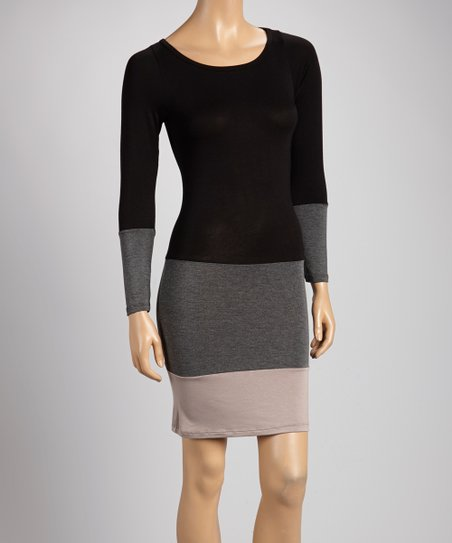 Black & Taupe Color Block Shift Dress
