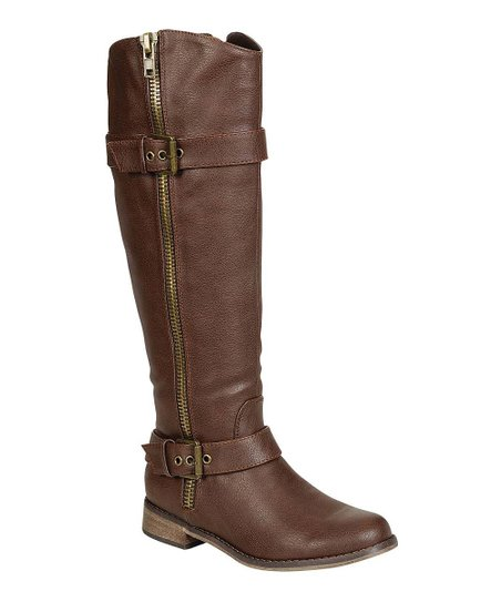 Brown Double-Buckle Rider Boot
