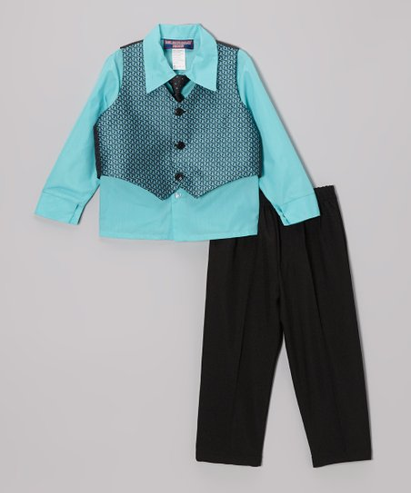 Aqua & Black Geo Four-Piece Vest Set - Infant