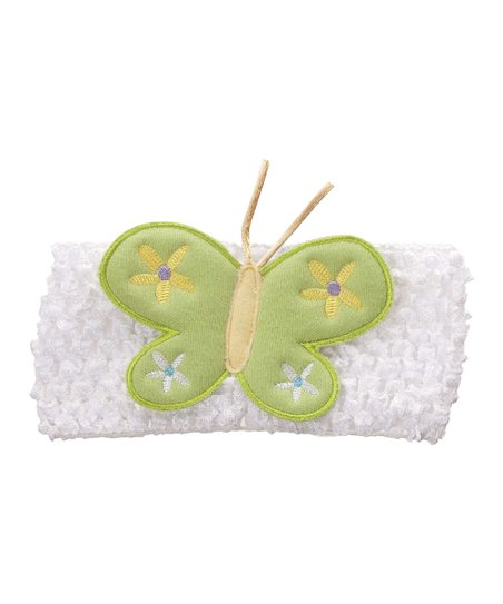 White & Green Butterfly Crocheted Headband