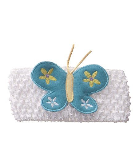 White & Blue Butterfly Crocheted Headband