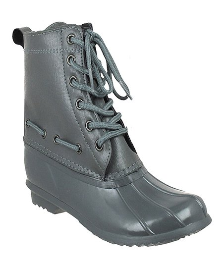 Gray Lace-Up Rain Boot