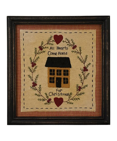 'Hearts Come Home' Stitchery Framed Wall Art