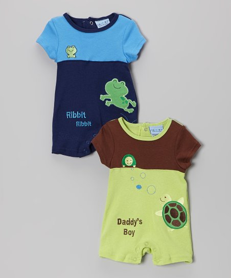 Green Turtle & Navy Frog Romper Set
