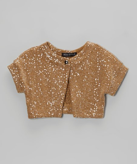 Camel Sequin Shrug - Girls