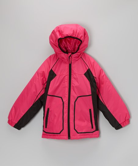 Berry Pink & Black Hooded Jacket