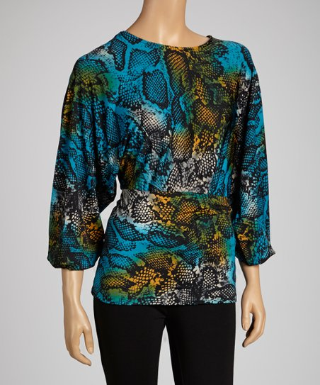 Blue & Rust Abstract Boatneck Tunic