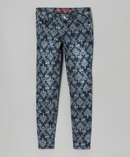 Denim Blue French Damask Skinny Jeans - Toddler & Girls