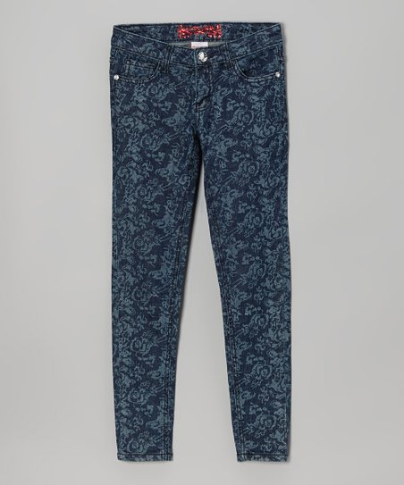 Denim Blue Rose Skinny Jeans - Toddler & Girls