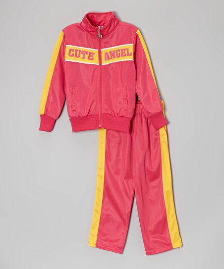Pink & Yellow 'Cute Angel' Track Jacket & Pants - Toddler & Girls