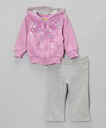 Purple Floral Zip-Up Hoodie & Gray Pants - Infant