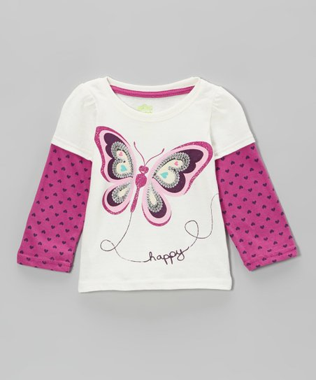 White Butterfly Layered Top - Infant & Toddler