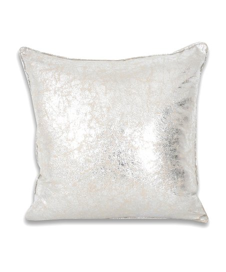 Silver & White Crackle Throw Pillow