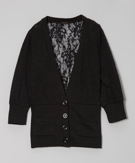 Black Lace-Back Cardigan