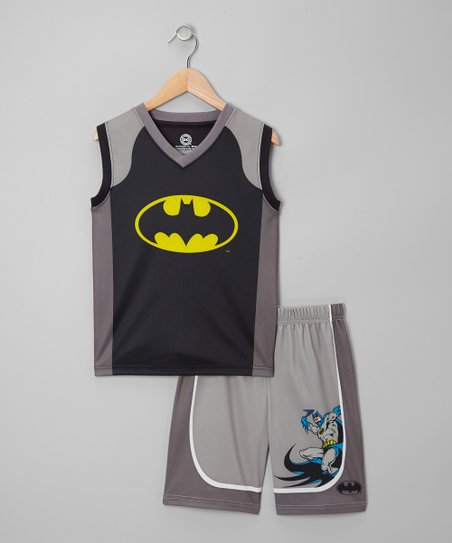 Black & Gray Batman Mesh Tank Pajama Set - Boys