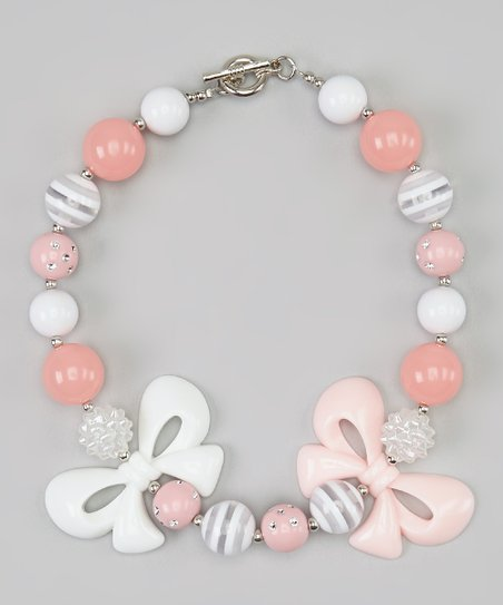 Pink & Gray Double Bow Bead Necklace