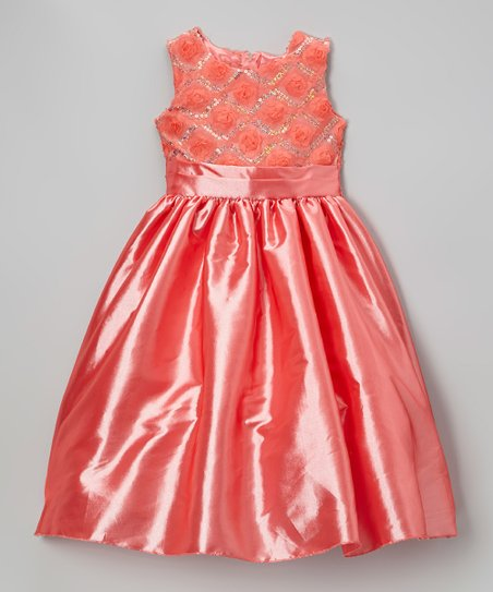 Coral Rosette Lattice Chiffon Dress - Infant, Toddler & Girls