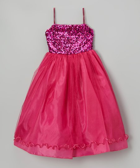 Fuchsia Sequin Ruffle Dress - Infant, Toddler & Girls