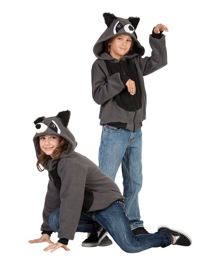 Gray & Black Rocky the Raccoon Hoodie - Kids