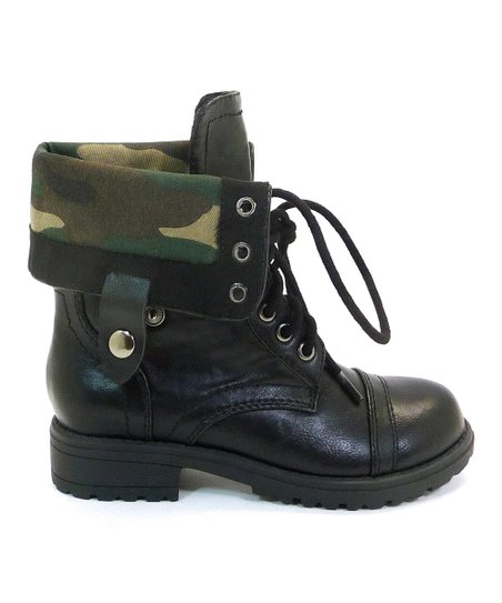 Black Camo Oralee Fold-Over Boot
