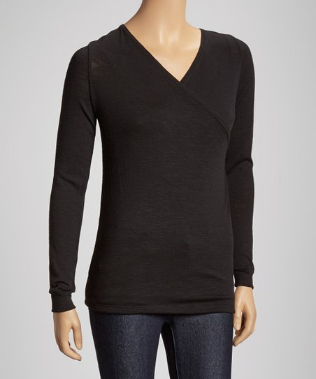 Black Long-Sleeve Surplice Top
