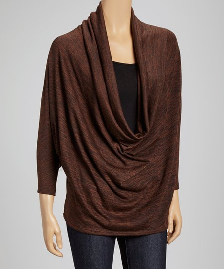 Brown Cowl Neck Dolman Top