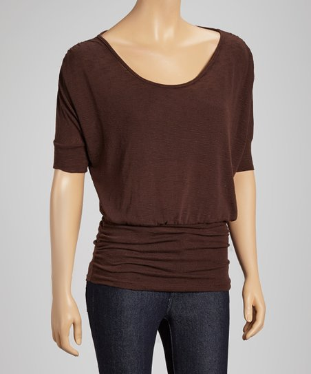 Brown Ruched Scoop Neck Top