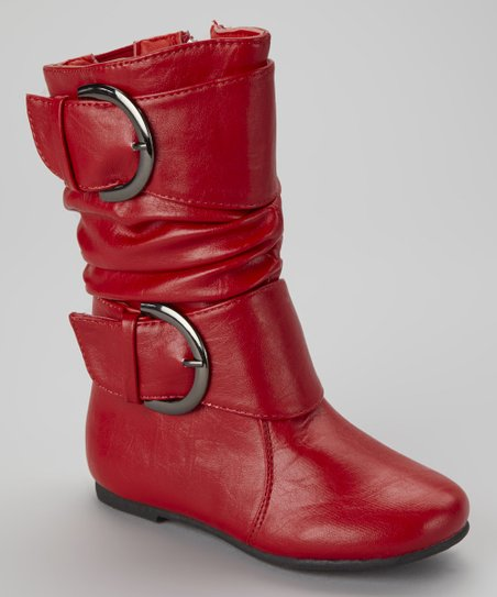 Red Data Buckle Boot