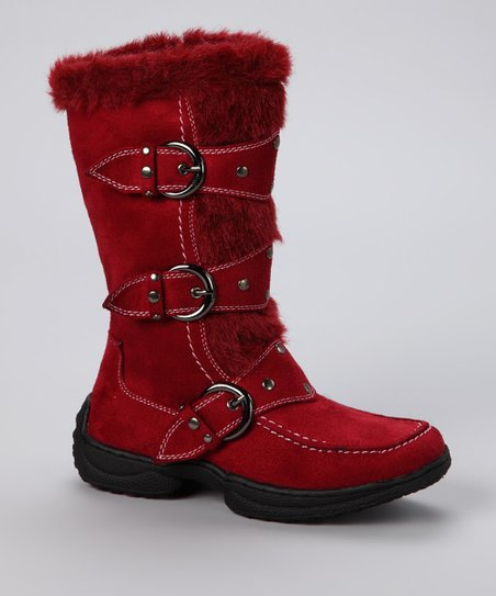 Red Faux Fur Jessica Boot