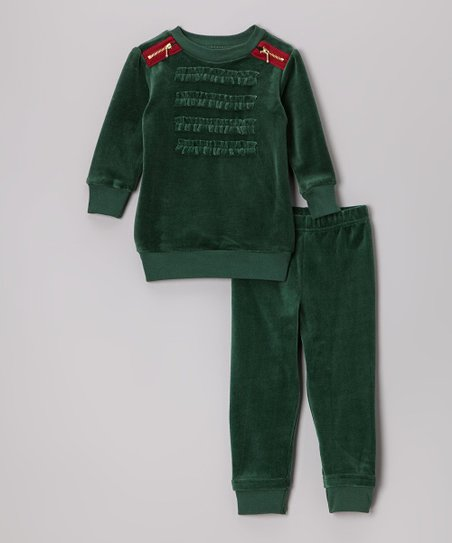 Green Velour Pullover & Pants - Toddler