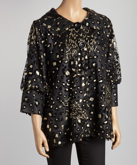Black & Gold Leopard Jacket - Women & Plus