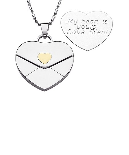 Stainless Steel Heart Envelope Personalized Pendant Necklace