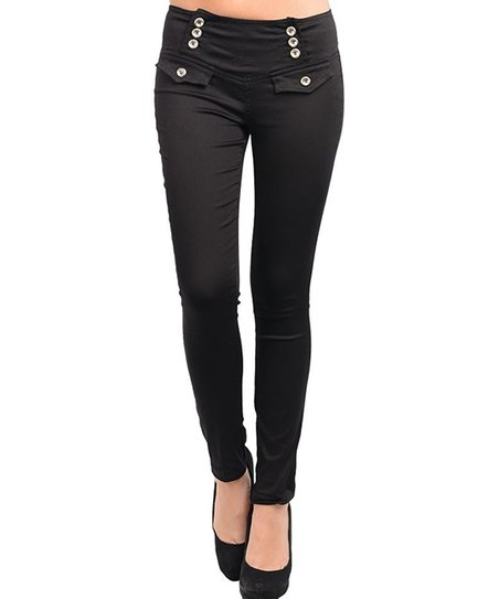 Black Button Wide-Band Skinny Pants