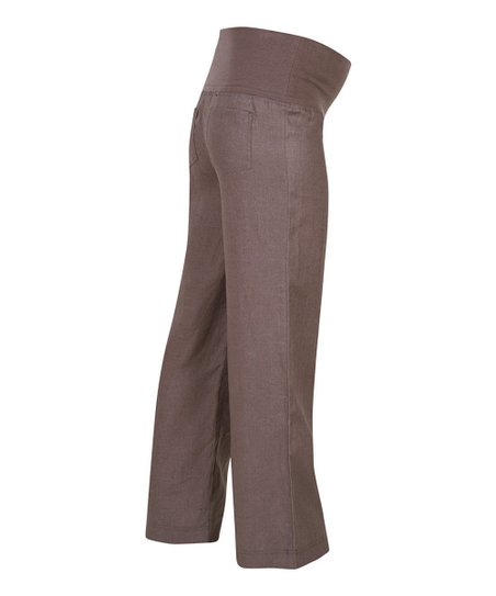 Mocha Linen Over-Belly Maternity Trouser Pants