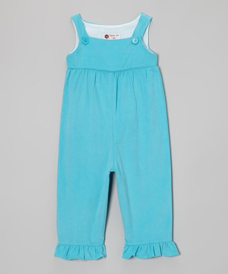 Turquoise Corduroy Ruffle Overalls - Infant, Toddler & Girls