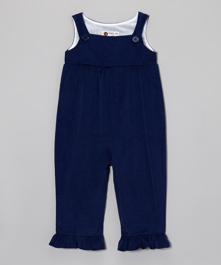 Navy Corduroy Ruffle Overalls - Infant, Toddler & Girls