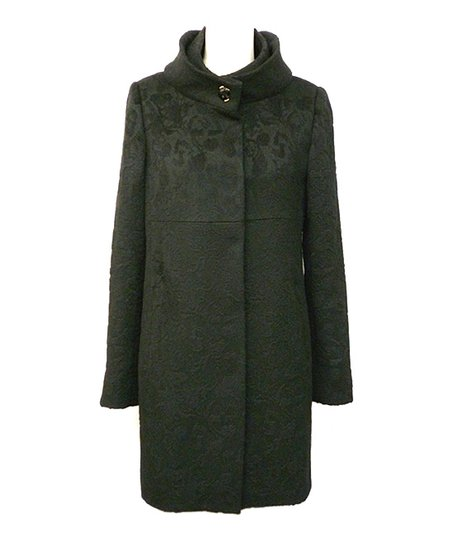 Black High Collar Wool-Blend Coat - Women