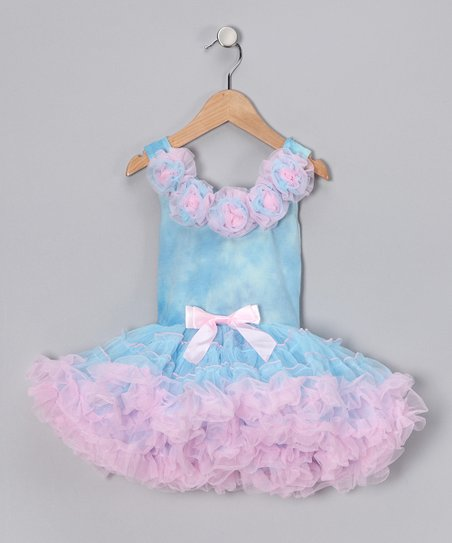 Blue Rose Ruffle Dress - Toddler & Girls