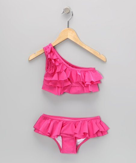 Fuchsia Asymmetrical Tiered Ruffle Skirted Bikini - Girls
